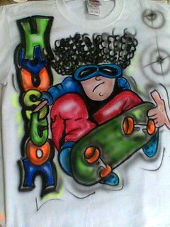 Airbrush on Shirt City with Design